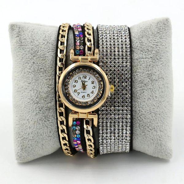 Fashion velvet circle with rhinestone ladies bracelet watch NHHM147032