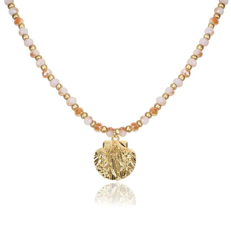 Sleek minimalist glass imitated crystal shell necklace NHCT147034
