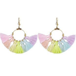 Simple color cotton tassel earrings NHKC147117's discount tags