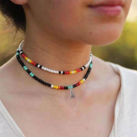 Bohemian starfish shell color rice beads choker NHCT147156's discount tags