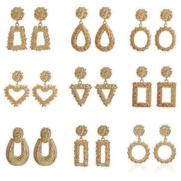New simple alloy geometric relief earrings NHPF147182