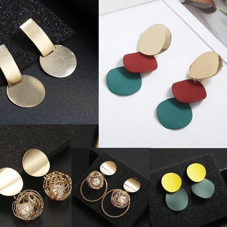 New geometric embossed round alloy earrings NHPF147181's discount tags