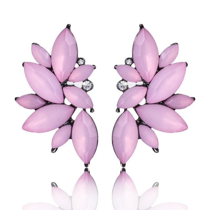 Fashion rhinestone stud earrings black pink purple NHPF147188
