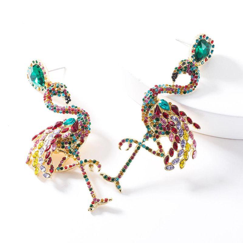 Stylish new rhinestone-studded flamingo earrings NHJE147191