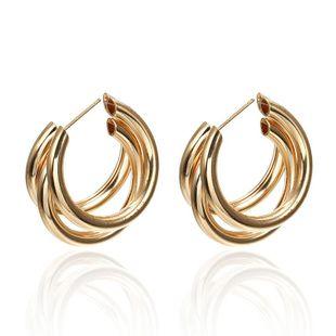 Simple multi-layered C-shaped alloy hoop earrings NHPF147199's discount tags