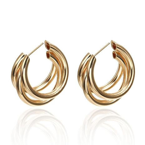 Simple multi-layered C-shaped alloy hoop earrings NHPF147199's discount tags