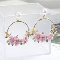 Dulces aretes de perlas de flores nuevas NHPF147209