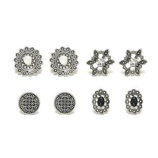 Fashion vintage opal flowers stud earrings 4 pics set NHPF147213's discount tags