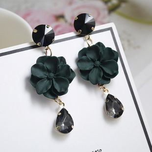 New imitated crystal flower drop earrings NHPF147215's discount tags