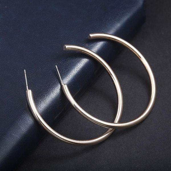 Minimal retro large alloy hoop earrings NHPF147220