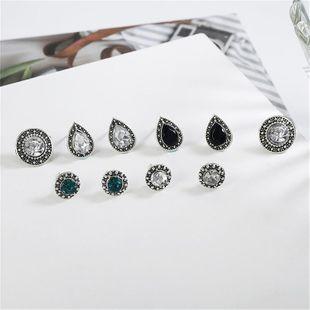 Fashion retro dazzling blue white black gemstone imitated crystal stud earrings 5 pics set NHPF147227's discount tags