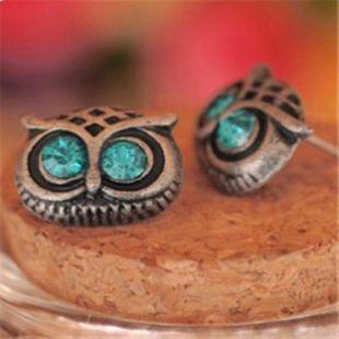 Vintage sweet owl imitated crystal stud earrings NHPF147230's discount tags