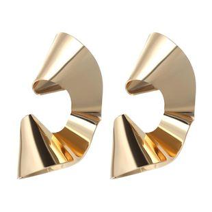 Simple metal smooth geometric stud earrings NHPF147236's discount tags