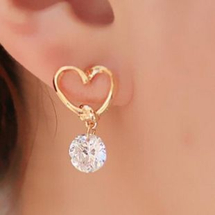 Fashion alloy heart-shaped imitated crystal earrings NHPF147241's discount tags