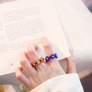 Colorful braided flowers handmade beaded ring NHDP147251's discount tags