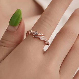 New copper inlay zircon lightning ring NHDP147252's discount tags