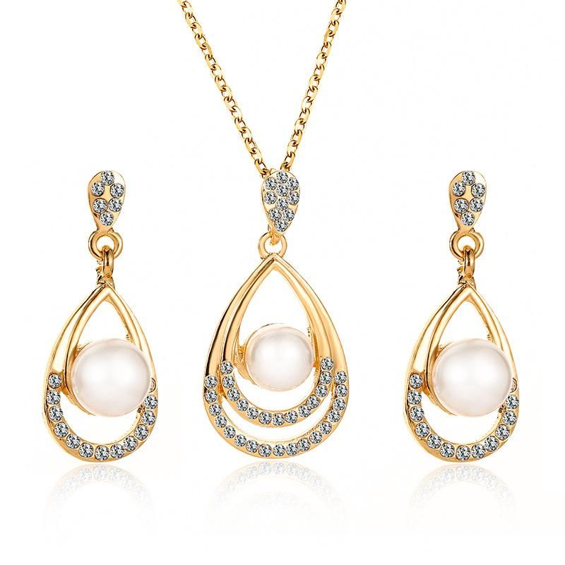 Fashion Beads Rhinestone Droplet Necklace Stud Earrings jewelry set NHDP147266