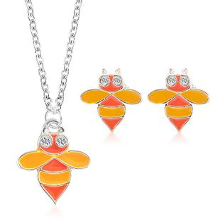Fashion alloy cute bee necklace earrings jewelry set NHDP147269's discount tags
