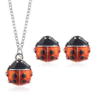 Fashion seven-star ladybug alloy earrings necklace jewelry set NHDP147270's discount tags