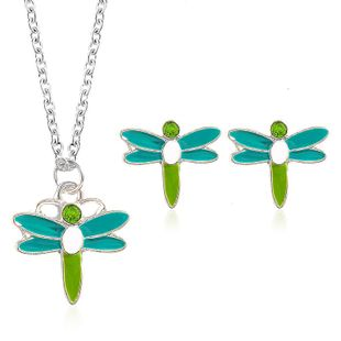 New alloy dragonfly necklace earrings jewelry set NHDP147271's discount tags