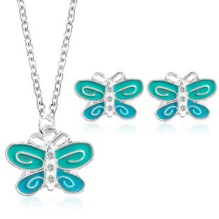 New alloy color butterfly necklace earrings jewelry set NHDP147272's discount tags