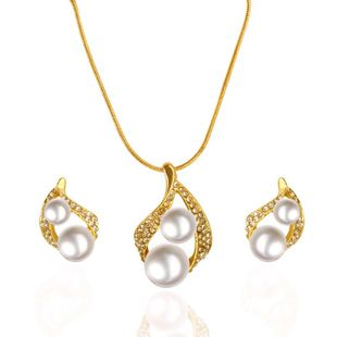 Fashion simple rhinestone drop beads necklace earrings jewelry set NHDP147273's discount tags