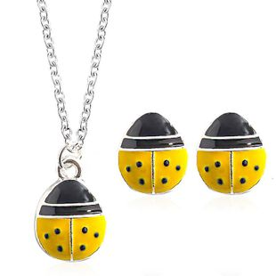 Cute fashion seven-star ladybug necklace earrings jewelry set NHDP147274's discount tags