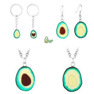 Fresh avocado clay mud necklace earrings key chain NHDP147275's discount tags