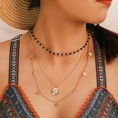 Simple and popular alloy geometric round head avatar beads multilayer necklace NHGY146940