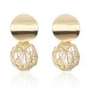 New geometric embossed round alloy earrings NHPF147181