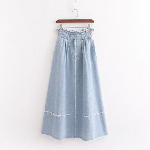 Falda larga de mezclilla de temporadas de moda NHAM147362