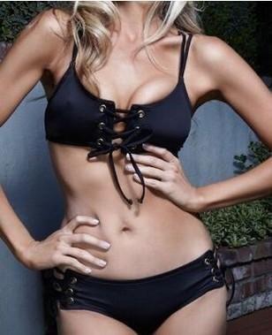 Explosion models black bikini ladies sexy straps handmade nail button buttonhole split swimsuit NHHL147379