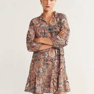 Autumn pleated detail flower dress NHAM147396's discount tags