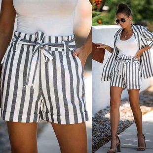 Autumn striped tie suit shorts NHAM147397's discount tags
