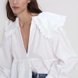 Autumn small round laplining poplin blouse NHAM147410's discount tags
