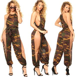 Europe and America sexy hanging neck wrapped chest camouflage split jumpsuit NHRF147418's discount tags