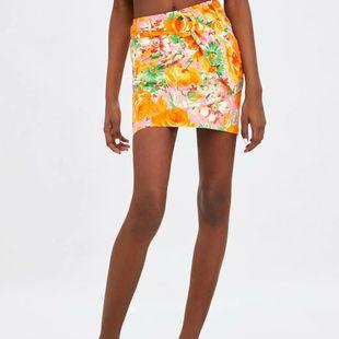 Autumn printed belt dress skirt skirt NHAM147438's discount tags