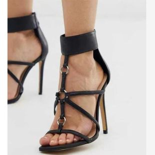 Europe and America fine band square head Roman high heel stiletto sandals NHSO147456's discount tags