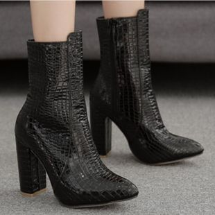 European and American large size black fish pattern thick with high heel booties NHSO147462's discount tags