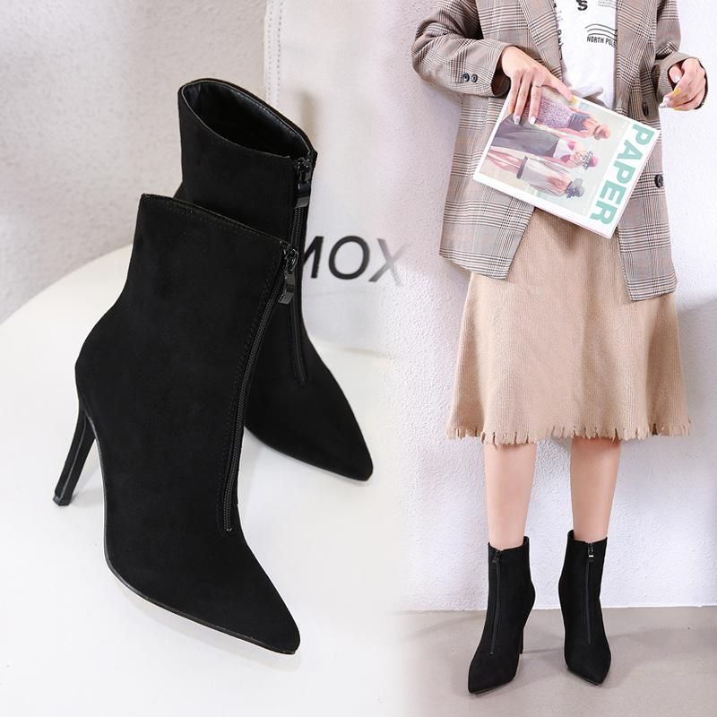 Fashion pointed sexy bazaar front zipper booties NHSO147464