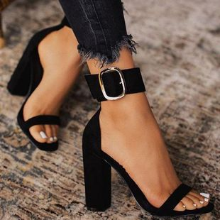 Large size Europe and the United States with a word with buckle high heel sandals NHSO147471's discount tags