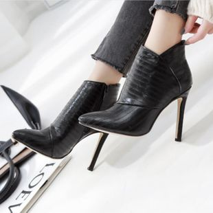 European and American pointed stiletto high heel black leather boots NHSO147475's discount tags