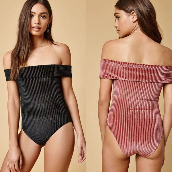 Alloy velvet striped one-shoulder sexy one-piece swimsuit NHHL147476