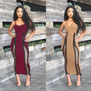 Sexy Sling Small V-neck Strap Slim Solid Color Dress NHRF147505's discount tags