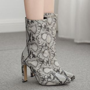 European and American snake pattern square with pointed high-heeled boots  boots NHSO147506's discount tags