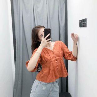 Autumn hollow V-neck shirt NHAM147507's discount tags