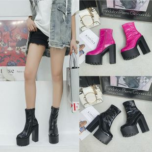Street handsome thick high-heeled platform boots NHSO147518's discount tags