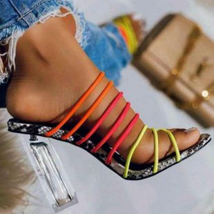 Imitated crystal super high heel sandals and slippers color matching thin high heels NHSO147520's discount tags