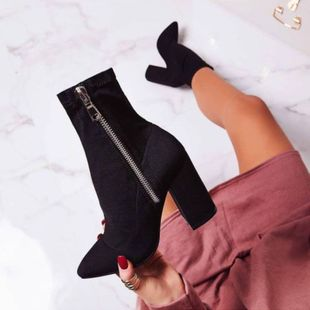 Europe and the United States black suede side zipper high heel boots NHSO147527's discount tags