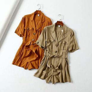 Autumn suit collar short sleeve loose tooling shorts NHAM147524's discount tags
